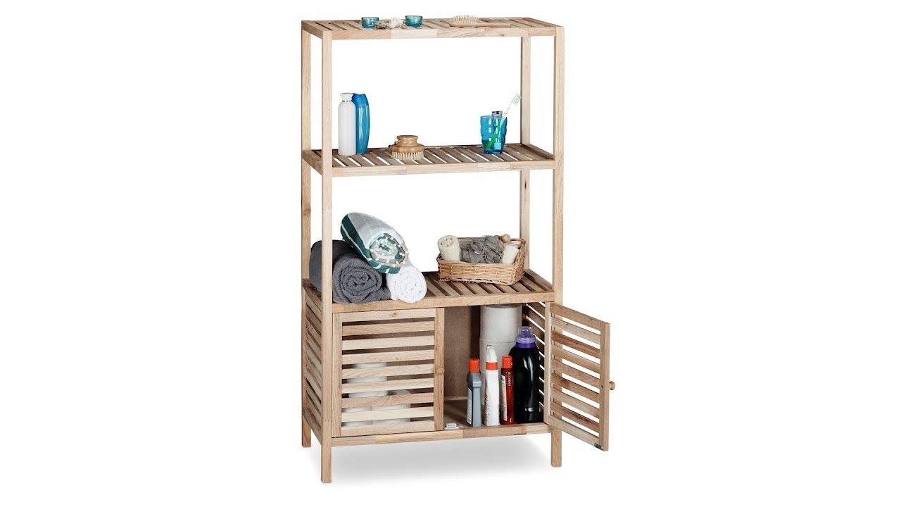 badschrank holz mit 4 ablagen youtube. Black Bedroom Furniture Sets. Home Design Ideas