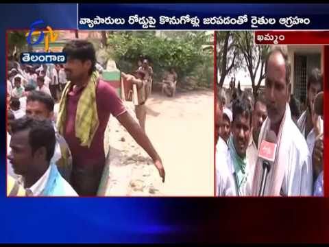 Angry Chilli farmers in Khammam Go on Rampage | Demanding To Provide Minimum Cost Price