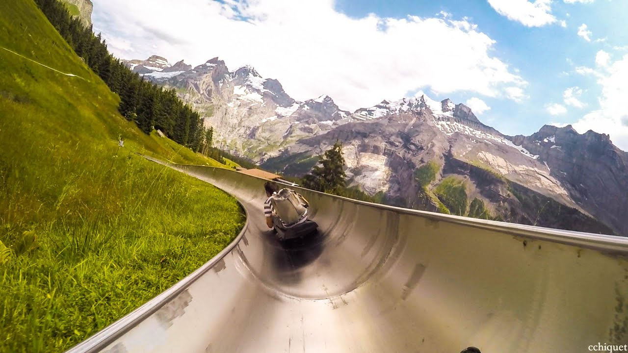 mountain slide in switzerland rodelbahn youtube