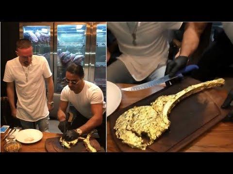 Franck Ribéry déguste une entrecôte recouverte d'or chez Salt Bae à Dubaï