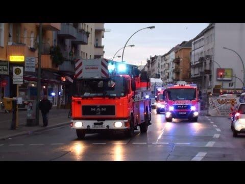 Löschzug Neukölln + ELW-C Schöneberg Berliner Feuerwehr + GruKW + EWA Polizei Berlin