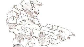 Hand Drawn Animation Master Chief Halo 3