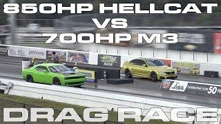 850HP Dodge Challenger Hellcat vs 700HP BMW M3 Drag Racing 1/4 Mile