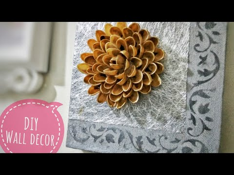 DIY Wall Decor | How to make Flowers From Pista shells | Canvas Art