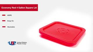 Economy Red 4 Gallon Square Lid | U.S. Plastic Corporation®