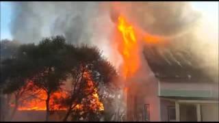 Как горят дома из бруса в деревне Русино