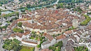 Drone Views of Switzerland in 4k: Aarau - Canton of Aargau