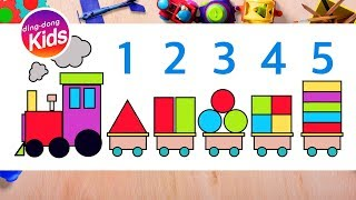 cartoon train drawing with numbers 1 to 5 | learn to count with shapes