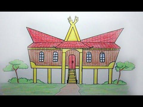 Cara Cepat Dan Mudah Menggambar Rumah Adat Riau Youtube