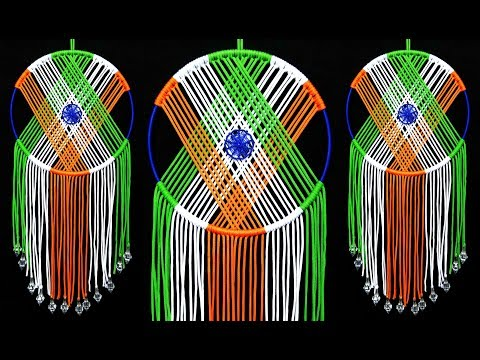 Indian Flag DIY Macrame Wall Hanging Dream Catcher | Republic and Independence Day Craft Ideas