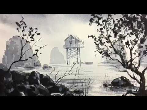 Old House and sea Fog painting with watercolors W&N watercolor paper