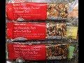 Trader Joe's Dark Chocolate Bars: Peanut & Almond, Nuts & Sea Salt and Walnut, Peanut, Fig, Date