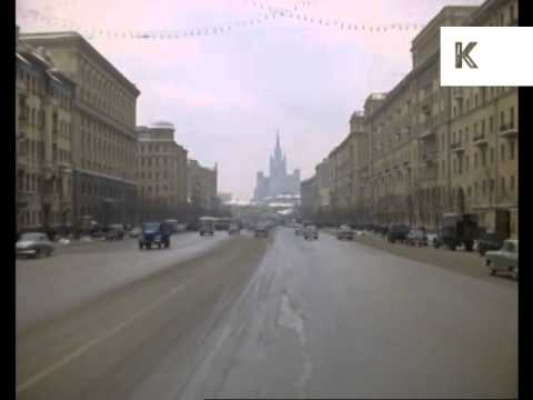 1960s Moscow, Red Square, Kremlin, Winter, Russia, 35mm Colour Archive Footage