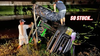 Recovering the Flipped Over Mega Truck From My 20 Foot Deep Pond!!!