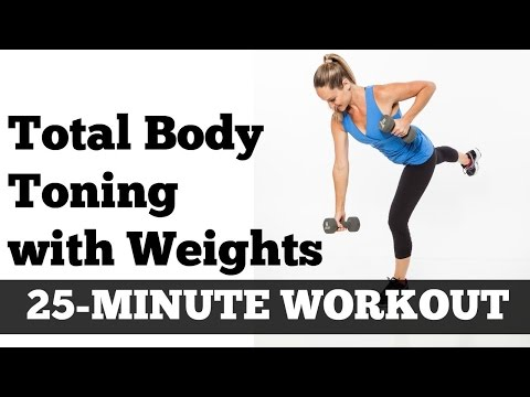 Full Body Full Length Fat Burning Workout | Total Body Toned 25 Minute Home Exercise With Dumbbells