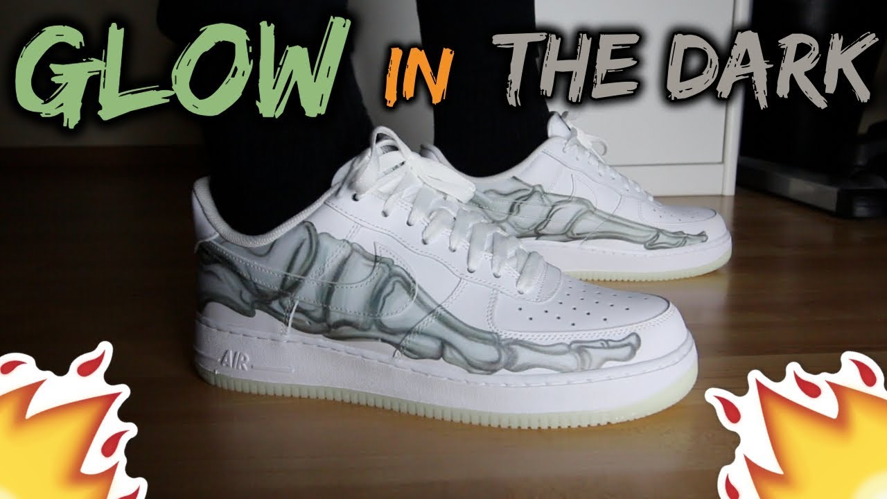 half price release date: designer fashion NIKE AIR FORCE 1 'SKELETAL FORCE' REVIEW/ON-FEET *GLOW IN THE DARK TEST*