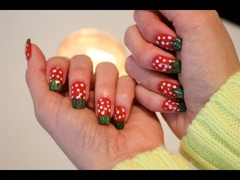 Uñas de Fresa!! Nails Strawberries!! Tutorial! Diseño Rapido y Facil!