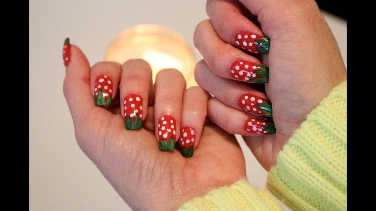 Uñas de Fresa!! Nails Strawberries!! Tutorial! Diseño Rapido y Facil ...
