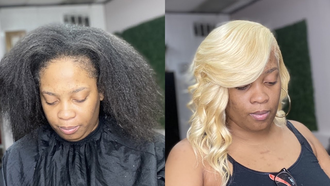 NATURAL WAVY BOB QUICKWEAVE ON THICK LONG HAIR USING 5x5 613 BLONDE CLOSURE (FLAT & LUMP FREE)