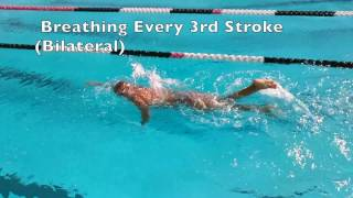Slow Motion Freestyle Bilateral Breathing Every 3rd Stroke Common Breathing Pattern