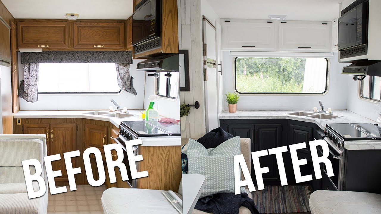 Our Diy Camper Kitchen Reveal How To Paint Oak Cabinets In An Rv