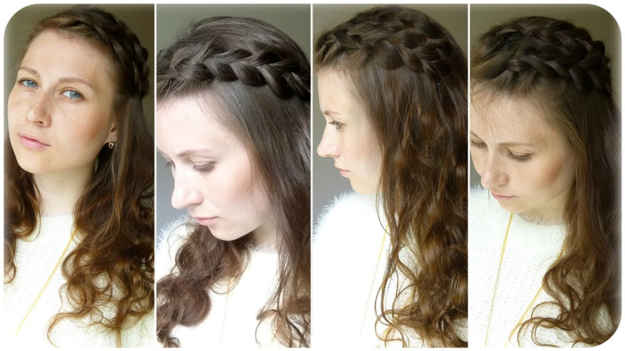 прически с плетением с распущенными волосами