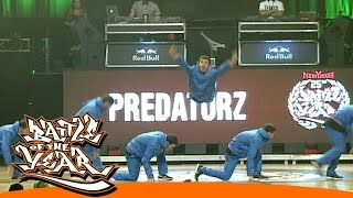 INTERNATIONAL BOTY 2014 - PREDATORZ (RUS) - SHOWCASE [BOTY TV](BUY TICKETS FOR 2015: http://www.battleoftheyear.de/final-2015/program/tickets.html The Battle Of The Year has come a long way. Who would have thought ..., 2014-10-21T19:00:06.000Z)