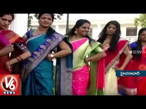 MP Kavitha And Padma Devender Participates In Bathukamma Celebrations At Pragathi Bhavan | V6 News