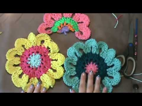 How To Crochet The Flower Power Valancedeo 2 Of 2 Youtube