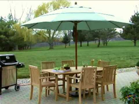 California Umbrella 11 Ft Commercial Grade Wood Patio Umbrella   Product  Review Video