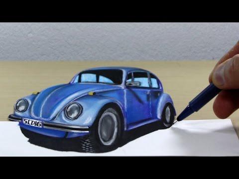 3D Trick Art on Paper Volkswagen Beetle