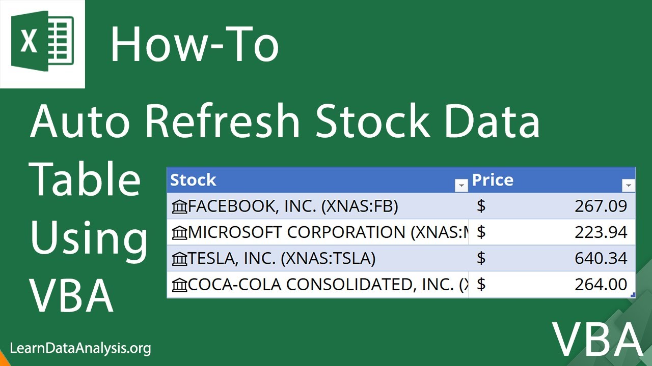 Create an Excel Macro (using VBA) to Automatically Refresh Stock Data