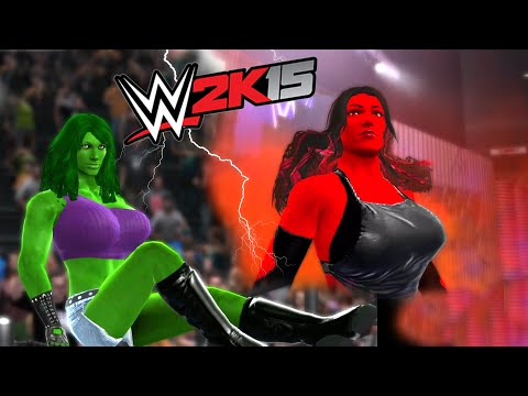 SHE HULK VS RED SHE HULK - DIVAS CHAMPIONSHIP MATCH - WWE 2K15