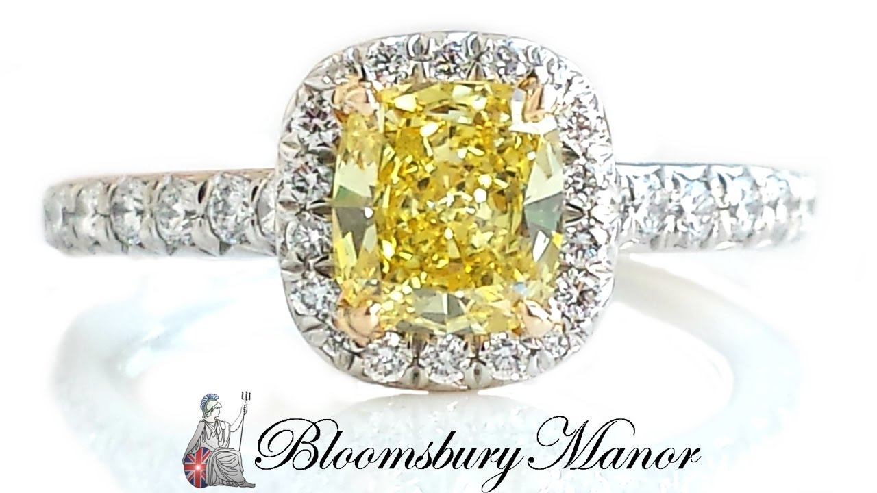 canary htm ring cut carat gold platinum p diamond yellow stone radiant