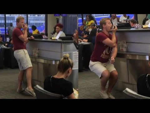 Passenger Sings Karaoke During Delays at Airport Gate