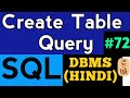 SQL create table in hindi | SQL tutorial in hindi | DBMS Lectures in hindi #72