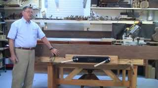 FOSTER WORKBENCH - using the VERITAS twin screw vise and front to hold long board.