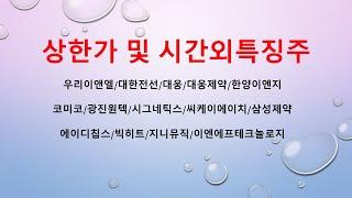 [시간외특징]우리이앤엘/대한전선/대웅/대웅제약/한양이엔…