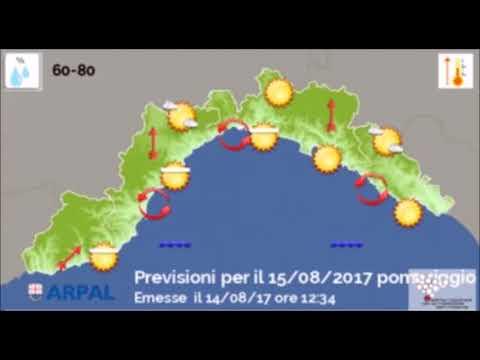 Le video previsioni del Centro Meteo Arpal del 14 agosto
