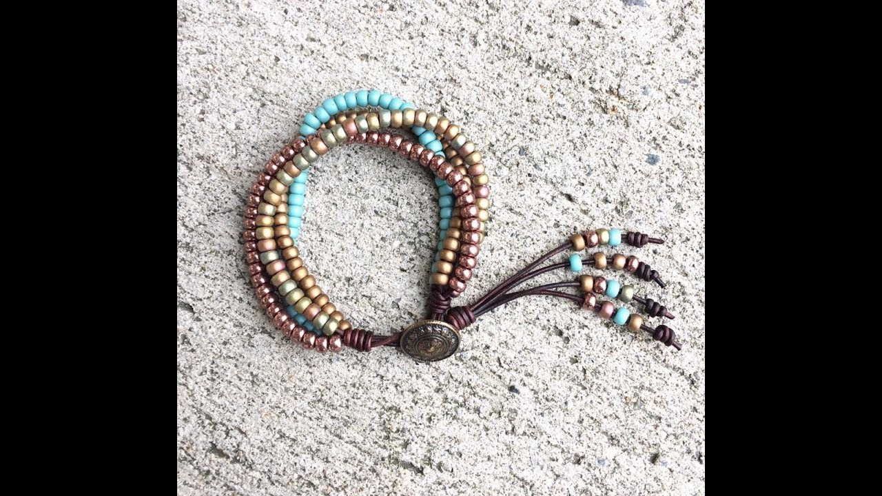 Four wrap leather beaded bracelet Beaded cuff bracelet Beaded bracelet