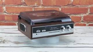 soundmaster PL186H Retro AM / FM Radio Record Player Turntable With Built in Speakers