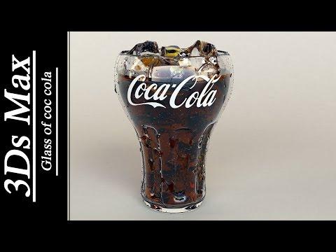 3Ds max - Glass of coca cola & water drops .