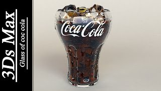 3Ds max - Glass of coca cola & water drops .