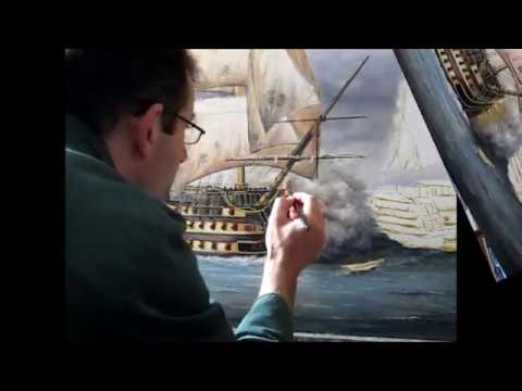 Painting Battle Of Trafalgar Royal Navy HMS Victory With Admiral Nelson