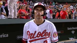 Ryan Flaherty chats with Gary and Mike after a 4-0 win over the Phillies