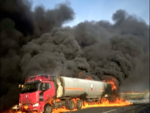 Oil Tanker Bursts into Fames in Northeast China