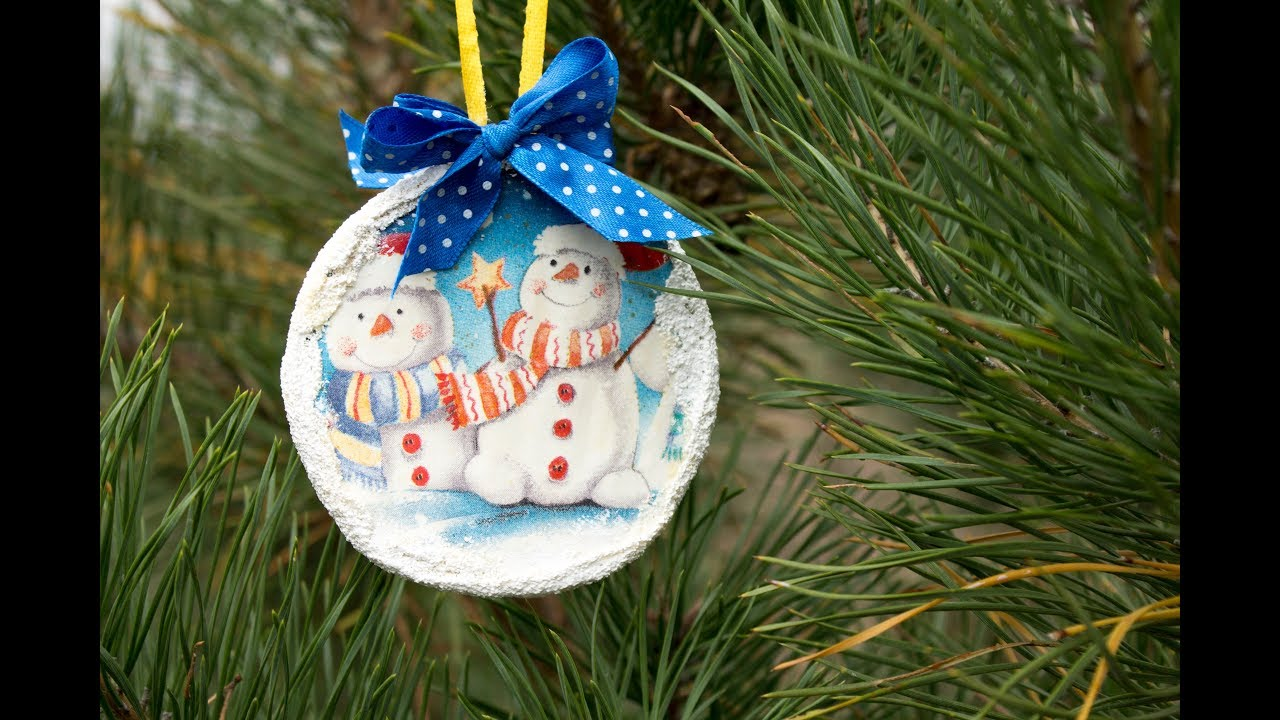 Decoupage lesson 54 DIY Christmas tree decorations recycled, ideas for  Christmas tree ornaments