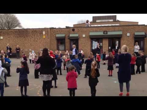 Duffryn Infant School surprise retiring head teacher Ruth Jones with song