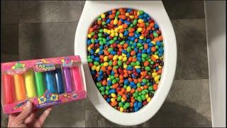Experiment Toilet vs M&M's, Play Doh, Candy, Peanut M&M's