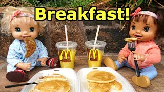 BABY ALIVE Ruby Snow Gets A SURPRISE Visit And Watches Sunrise And Eats McDonalds Breakfast!